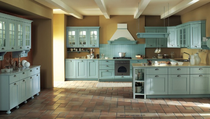 Use yellow with blue in kitchen for a country cottage feel