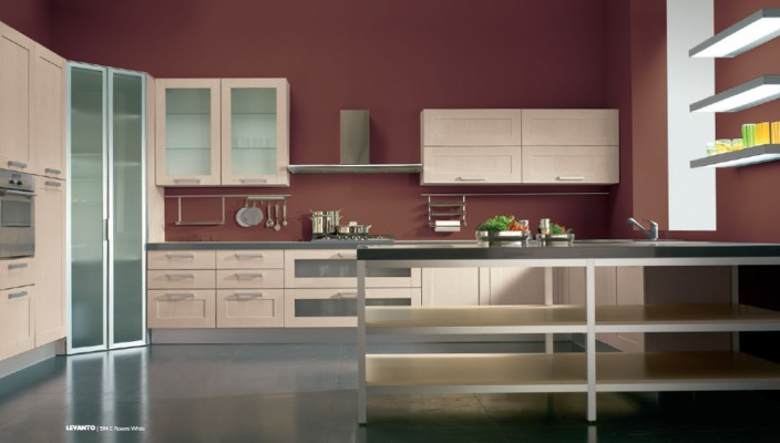 Modern Kitchen Designed In Varied Material with White Finish