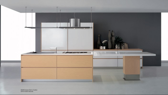 Use a unique combination of white and grey colors for kitchen