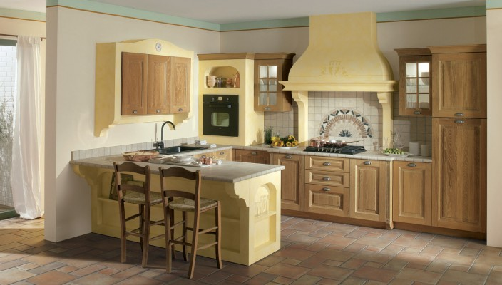 Paint your kitchen cabinets yellow for a bright look