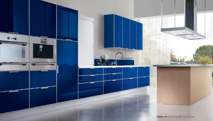 Kitchen Concept with a Blue Finish for Doors