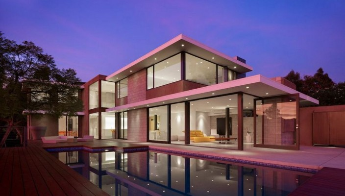 Large modern exterior for homes with pink theme