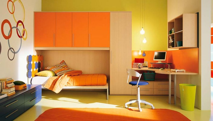 Orange themed interior for kids