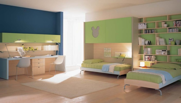 Kid's bedroom idea in green and blue